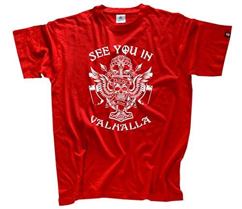 Shirtzshop–Maglietta da uomo See You In Valhalla Odin Tyr Thor, Uomo, See you in Valhalla Odin Tyr Thor T-Shirt  L, rosso, L rosso