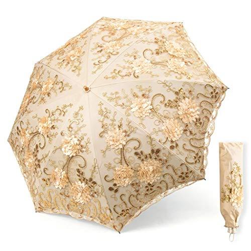 Reise-Sonnenschirm, Sonnenschutzmittel Regenschirm Für Frauen UV-Schutz UPF 50+ Kompakte Größe Handstickerei Umbrella (Farbe : A, größe : 90 * 70cm)