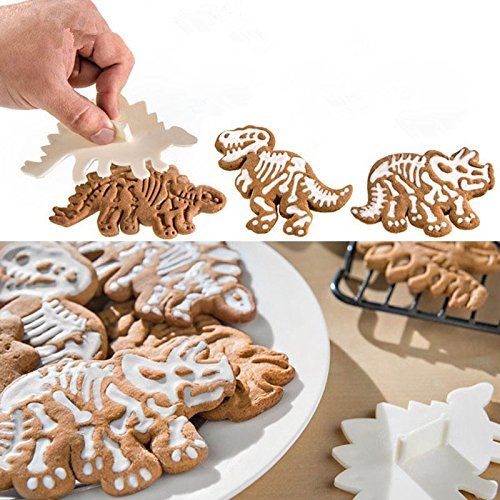 Inovey 3Pcs/Set Cute Dinosaur Shaped Cookie Cutters Tools Kitchen Bakeware Decorative Tool Baking Mold Shaped Cookie Cutter Set