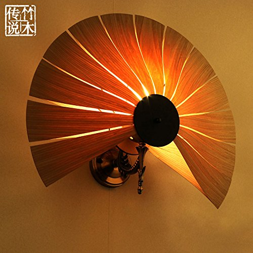 BESPD Südostasien Chinesisch Furnier vor dem Spiegel Wandleuchten Korridor Gang Wohnzimmer Schlafzimmer Bett Lampen Kirschbaum 50 Cm ohne LED