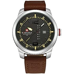 NAVIFORCE 4080Multifunctional 3ATM Waterproof Sport Uhr Quarz Unisex Wrist Uhr mit PU Band and Week & Calendar Display FUNCTIONS (Coffee Band + Black Window)