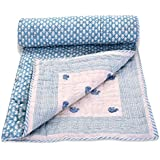Mom's Home Organic Cotton Baby Quilt - Elephant Print- Blue- 0-5 Years - 100*150 * 5 Cms