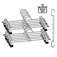 ilauke Trouser Hanger, 12 Pack Skirt Coat Hangers with Non-Slip Clip, Pants Hangers Space Saving for Trouser Skirt Pants Clothes + Metal Hanger Hook