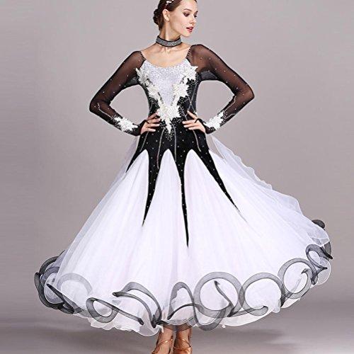 Handgefertigt Wasserlösliche Blume Damen Großer Schaukel Moderner Tanz Performance Kleid Lange Ärmel Ballroom Dance Kostüme Mit Strass Applikationen, Black, XL