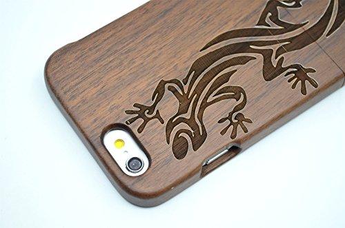 RoseFlower(TM) iPhone 6S (4,7 Zoll (11,9 cm) Holzhülle - Kirsche Holz Schädel - NatürlicheHandgemachteBambus / Holz Schutzhüllemit Kostenlose Displayschutzfolie für Ihr Smartphone Walnuss-Eidechse