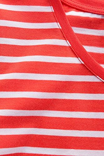 GINA_LAURA Damen bis Größe XXL | T-Shirt mit Streifen | Gestreiftes Shirt aus 100 % Baumwolle | Ringelshirt mit Rundhals & Halbarm | Regular Fit | 172953 Koralle