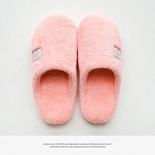 Home fankou paio di pantofole di cotone maschio indoor invernale carino capelli femmina pantofole anti-skid pavimento termico pantofole inverno Blau