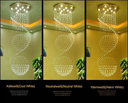 Plafoniere Acciaio E Cristallo : Wenrun lighting scale soggiorno gu10 led 3 luminosità k9 cristallo e