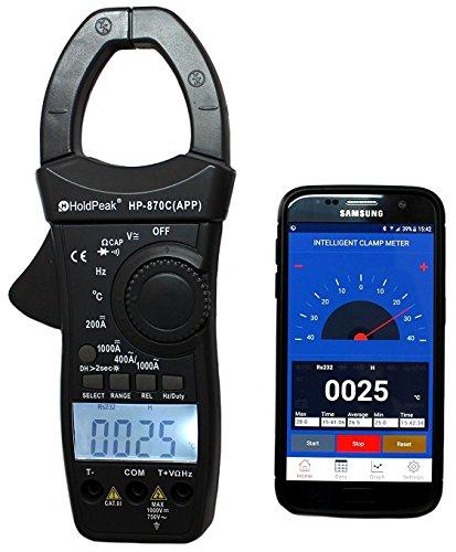 HoldPeak HP-870C-APP Zangen-Multimeter Stromzange AC DC °C Bluetooth APP Gleichstromzange digital Amperemeter, Dunkelgrau