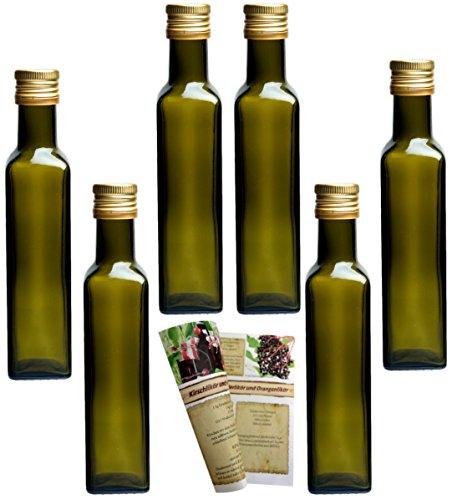 gouveo 24er Set Leere 250 ml Maraska -Antik- Flaschen inkl. Schraubverschluss PP 31,5 Gold und...