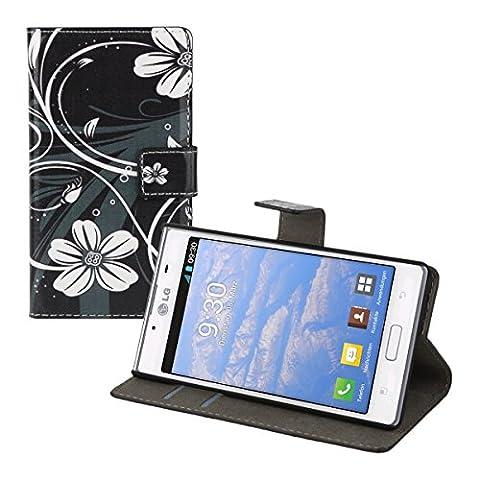 kwmobile Étui en cuir synthétique chic pour LG Optimus L7 avec fonction support pratique. Design fleurs swirl en blanc noir