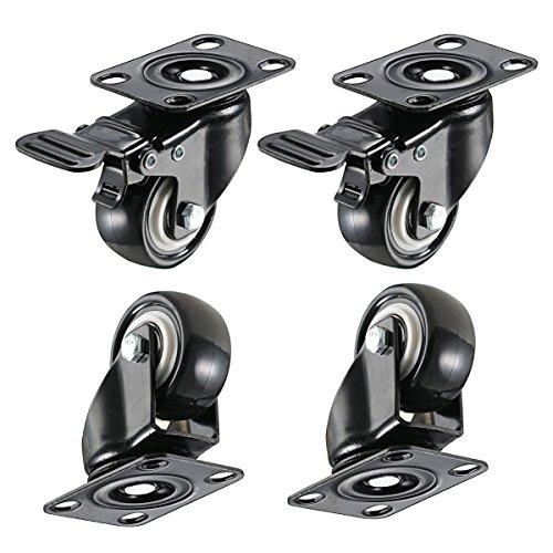Lenkrollen-Set, 40 mm, mit doppelter Sicherheitsbremse und geräuscharmen Rollen aus PVC, Gesamtbelastbarkeit 150kg, 4 Stück (2mit Bremse) (Bremse Reinigen)