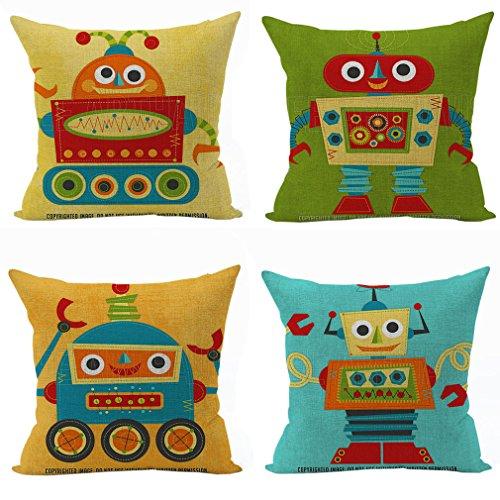 nbezug Dekokissen Kissenhülle für Sofa Bett Haus 45x 45cm Robot mehrfarbig ()