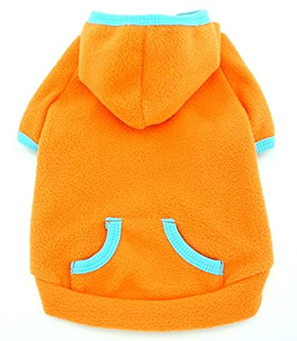 SMALLLEE_LUCKY_STORE Chihuahua Hoodie Fleece Coat Sport Style Jumper Puppy Shirt Pet Clothes for Small Dog Cat Orange