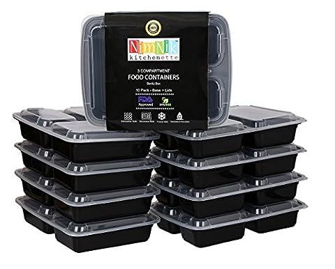 [Lot de 10] Boîtes Alimentaires en Plastique - Bento Repas Empilables et Réutisables avec Couvercles