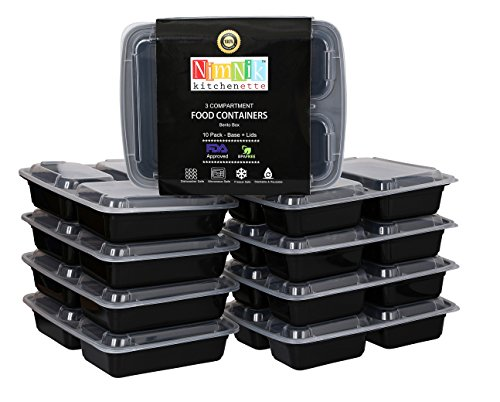 [10 Pack] Meal Prep Food Containers Store Plastic Bento Lunch Box with Lids Stackable Reusable