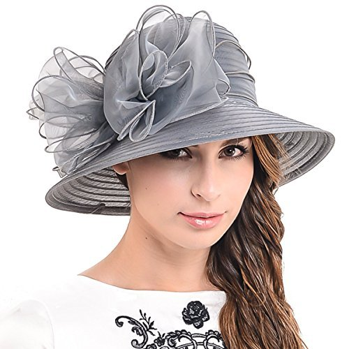 HISSHE Cloche Oaks Kirchenkleid Bowler Derby Hochzeit Hut Party S015 - Schwarz - Medium (Black Tea-party-hut)