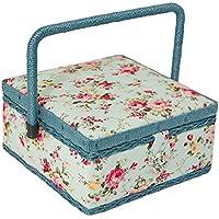 Boîte à couture carré avec motif floral Bleu, poignée en osier et métal à pression