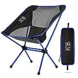 SKM Campingstuhl faltbar/klappbar/tragbar Stuhl für Camping mit doppeltem Querträger und Tragetasche (Blau)