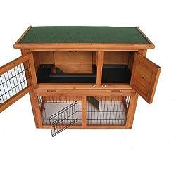 BUNNY BUSINESS Doble Decker Conejo/Guinea cabaña con rampa Deslizante Bandeja de plástico/Puerta Enrollable, 91,44cm