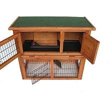 BUNNY BUSINESS doble Decker conejo/Guinea cabaña con rampa deslizante Bandeja de plástico/puerta