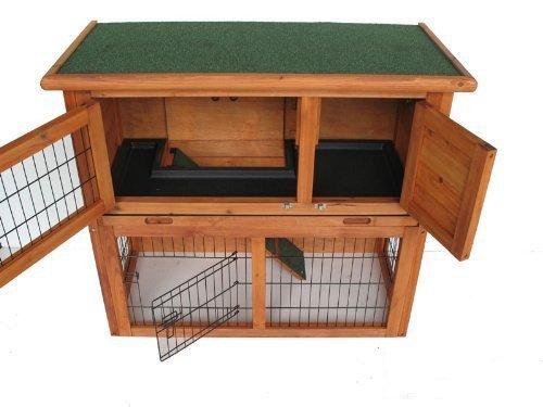 BUNNY BUSINESS a Due Piani Coniglio/Guinea Hutch con rampa Porta Scorrevole Vassoio di plastica/Blind, 91,4cm