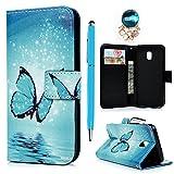 YOKIRIN Case Flipcase für Samsung Galaxy J3 Pro J3 2017 J330 Lederhülle Hardcase PU Leder Handyhülle Schutzhülle Tasche Schale in Standfunktion Kartenfächer Magnetverschluss Blauer Schmetterling