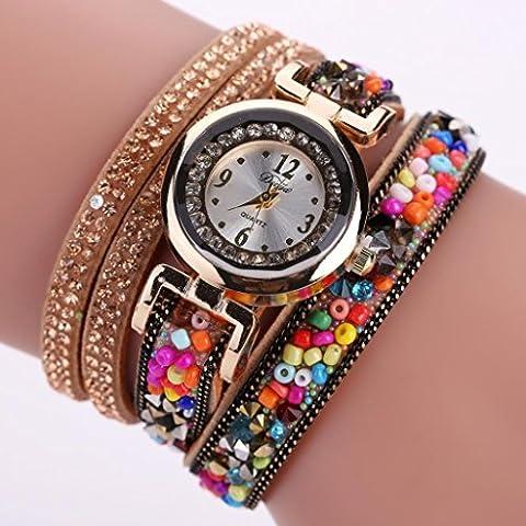 Vovotrade Femmes Vintage Cuir Fin Enroulé Analogique Quartz Mouvement Montre-bracelet (jaune)