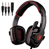 Sades SA-708 GT Gaming Headsets Kopfhörer für PS4 ergonomischen Noise Cancelling mit Mikrofon, für Laptop, Mac, Xbox One, Tablet, PC, Smartphone (Schwarz)
