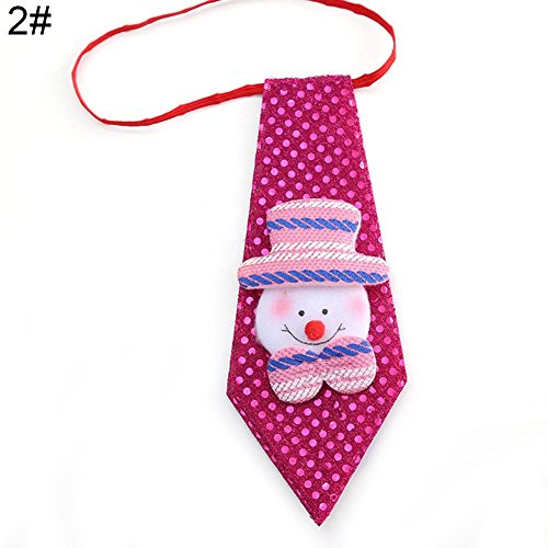 Huhuswwbin Christmas Kids Adults Tie Santa Claus Snowman Reindeer Bear Xmas Decor Ornaments - 2#