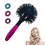 Brosse à cheveux à tête ronde 3D Brush avec 3 élastiques à cheveux en spirale...