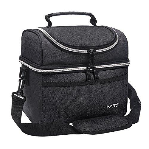 Kato Leichte Kühltasche Lunch Tasche Isoliertasche Essenstasche Picknicktasche für Arbeit Schule Lunch Bags mit Schultergurt Männer und Frauen,Schwarz