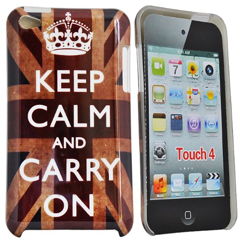 24/7 kaufhaus - shell Union jack Hartcoverhülle für Apple ipod touch 4 / Design ' KEEP CALM AND CARRY ON'