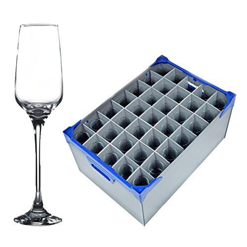 Tulpe Sektgläser, Champagne Flutes x 35 und Glasgeschirr Storage Box (Glassjack) | 35 Premium Catering Qualität Champagne Flutes 23cl / 8 Unzen und 1 Glaswaren Lagerung Crate (Premium Box Storage)