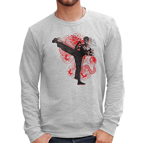 Sweatshirt BRUCE LEE DRAGON AND QUOTES - FILM by Mush Dress Your Style - Herren-XXL-Grau (Film Quote T-shirts)