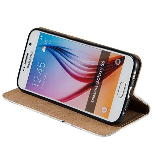 Coque Galaxy S6, Etui pour Samsung Galaxy S6, ISAKEN Peinture Style Soulagement de la couleur PU Cuir Flip Magnétique Portefeuille Etui Housse de Protection Coque Étui Case Cover avec Stand Support et lume noire