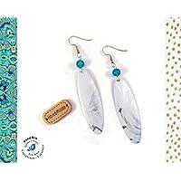 3010439a12df Pendientes Gotas Lata de Refresco Reciclada Cuentas de Piedra Natural  Azules Blancos Plateado Pendientes Ligeros Verdes