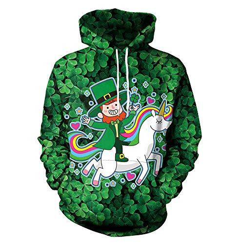 (MOIMK Adult Hoodie Cute Haustier Einhorn Print St. Patrick es Day Green Klee Couple Long Ärmel Sweatshirt,XL)