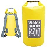DeFe Sacca Impermeabile 20L Borsa Impermeabile Borse Stagna Dry Bag per Rafting Viaggio Kayak Canoa Nuoto Nautica Pesca Campeggio Snowboard ect Attività all'Aperto e Sport d'Acqua (Giallo 20L)