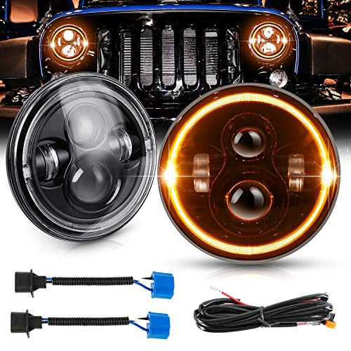 AAIWA LED Scheinwerfer für Jeep, 7 Zoll Rund 45W LED Halo Scheinwerfer für 1997-2018 Jeep Wrangler JK TJ LJ CJ Hummer mit Fernlicht Angel Eyes DRL Bernstein Blinker, 2PCS