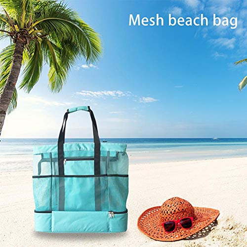 Hualieli Mesh Strand Tote Bag Tragbare Doppelschicht Leichte Isolierte Tasche Ice Bag Lunch Bag Für Camping, Urlaub, Reisen, Schwimmen -