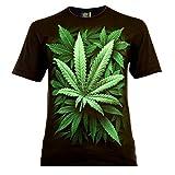 Cannabis Leaf Herren T-Shirt Schwarz Gr. S Glow in The Dark
