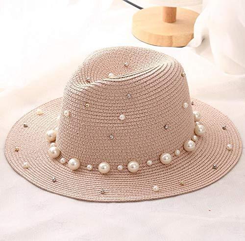 TIANFGW Sonnenhut Sommer Mädchen Perle Perlen flach Krempe Strohhut Schattierung Sonnenhut Lady Beach Hat About56-58cm Pink
