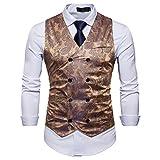 Showu Herren Paisley Weste Slim Fit Geschäft Hochzeit Elegant Anzugweste Stil Blazer (Gold, L)