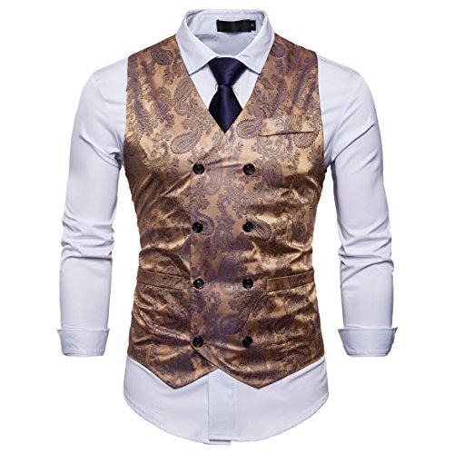 Showu Herren Paisley Weste Slim Fit Geschäft Hochzeit Elegant Anzugweste Stil Blazer (Gold, L) -