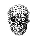 Finrezio Anillos De Calavera De Acero Inoxidable para Hombre Vintage Biker Ring Punk Rock Gothic Skull Head Tamaño del Anillo 19.5