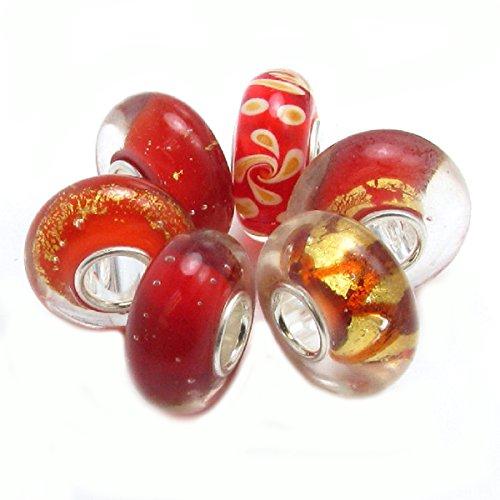 Queenberry argento Sterling, con orecchini in oro, con perline in vetro in stile europeo (Orecchini Gioielli Chamilia)