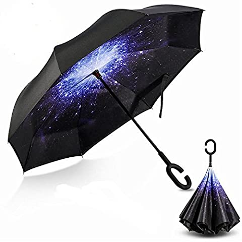 AKLOVER Double Layer Inside-Out Inverted Umbrella and Self Standing, Reverse Folding Umbrella with C-shaped Hands Free Handle, Waterproof Travel Parasol