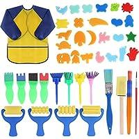 Yuehuam Juego de Pinceles de Pintura de Esponja para Niños de 42 Piezas Pinceles de Pintura para Niños Kit de Dibujo de Aprendizaje Temprano para Niños Pequeños Patrones de Combinación de Pinceles con