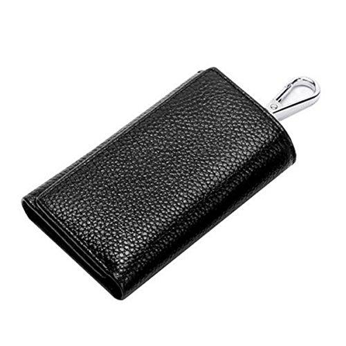 Jia Qing Leder Großer Kapazitäts-Multifunktions-Männer Soft Keychain Schlüsselanhänger Großhandels-Handtasche,Black-OneSize